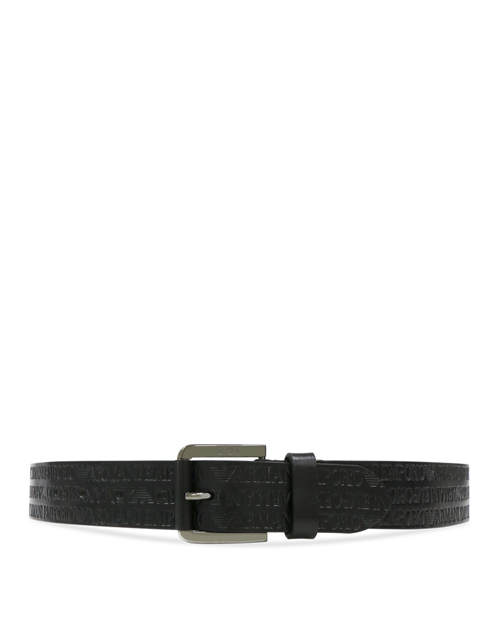 LOGO Printed Leather Pin Buckle Belt