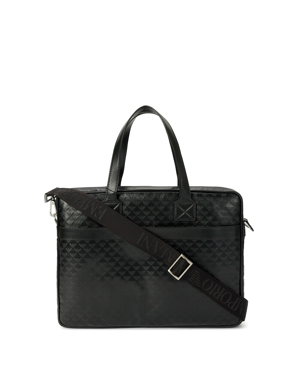 Logo Embossed Leather Briefcase