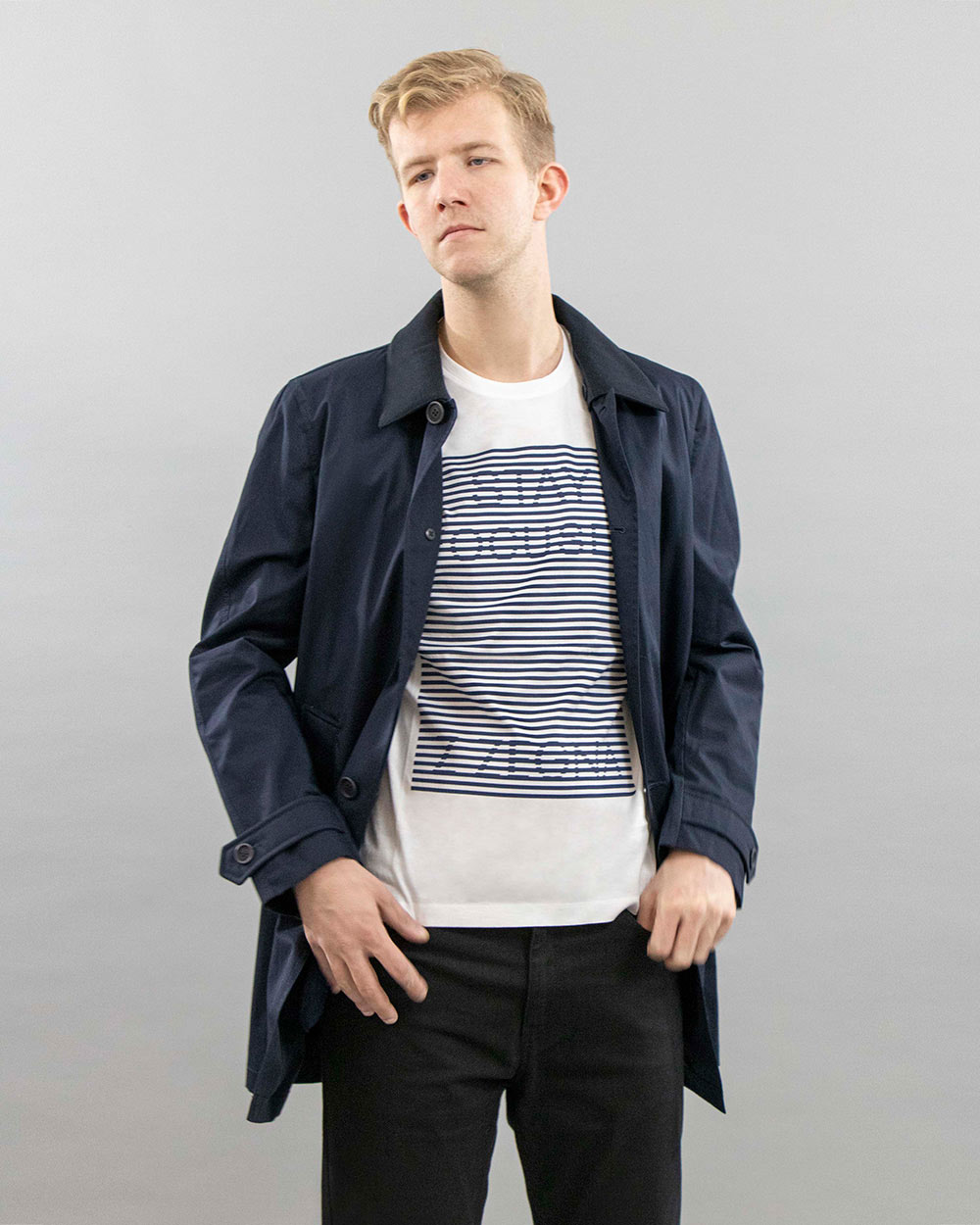 Cotton Blue Long Trench Coat 1