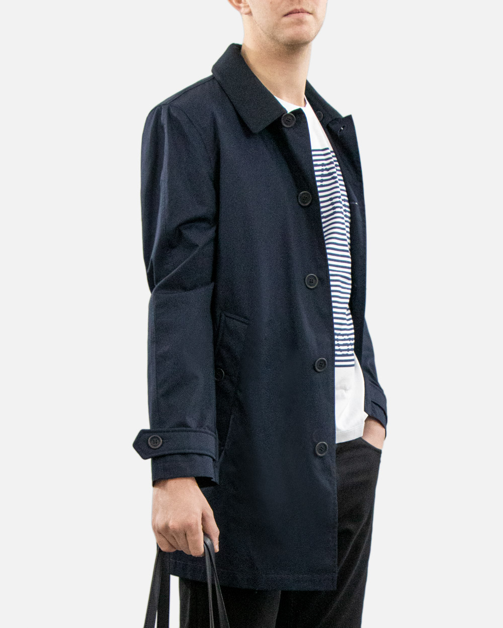 Cotton Blue Long Trench Coat 2