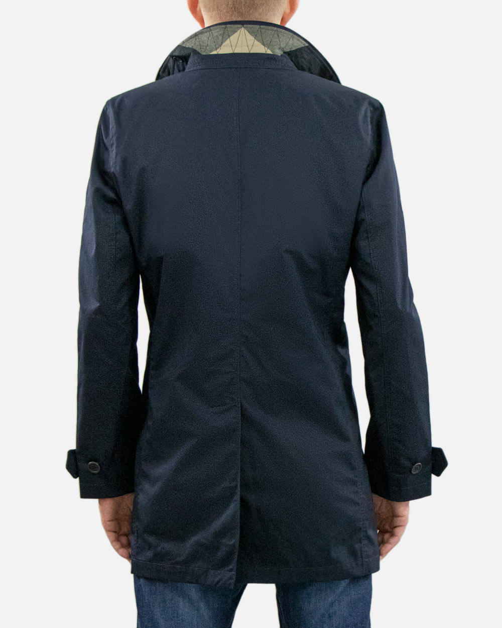 Cotton Blue Long Trench Coat 4