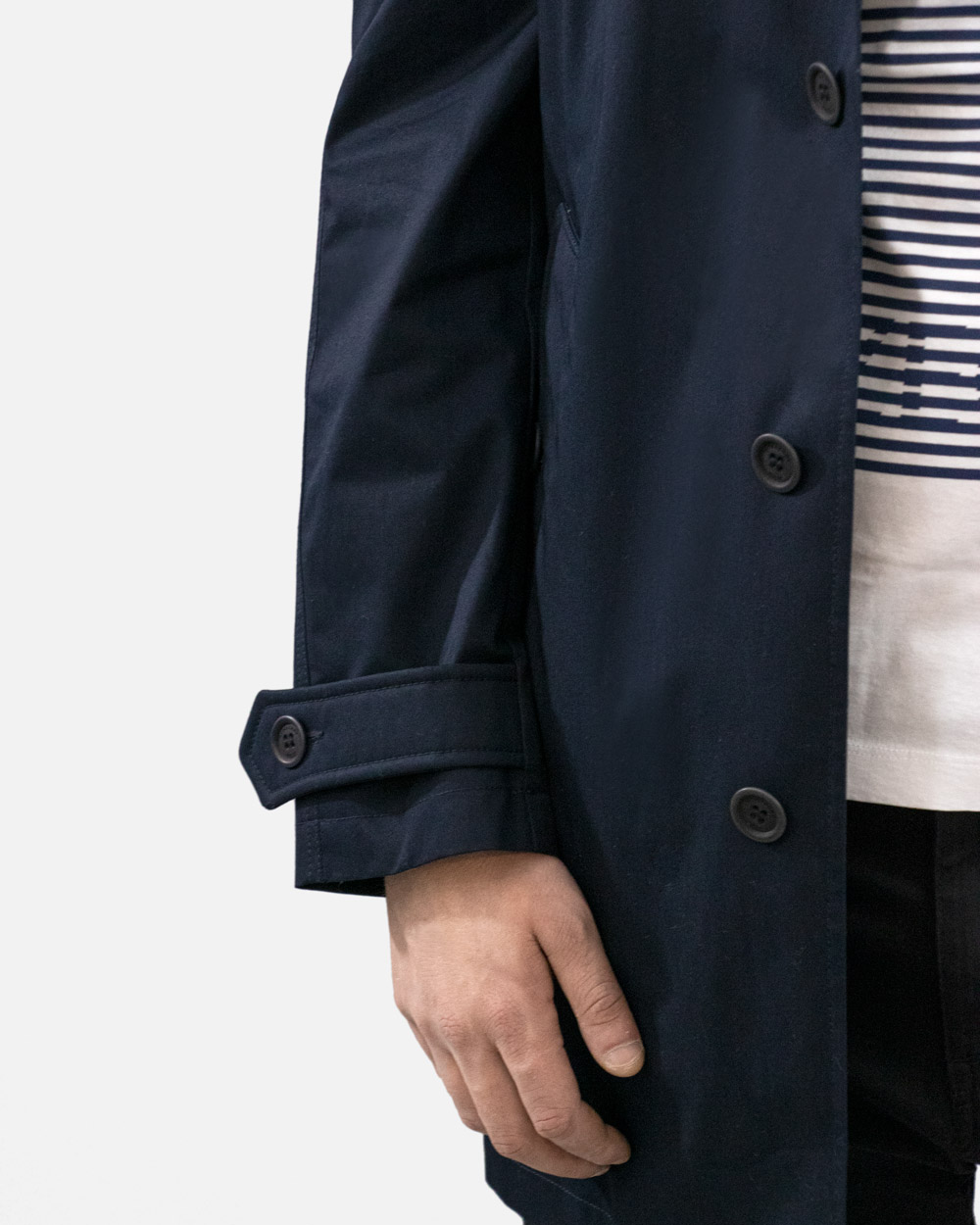 Cotton Blue Long Trench Coat 5