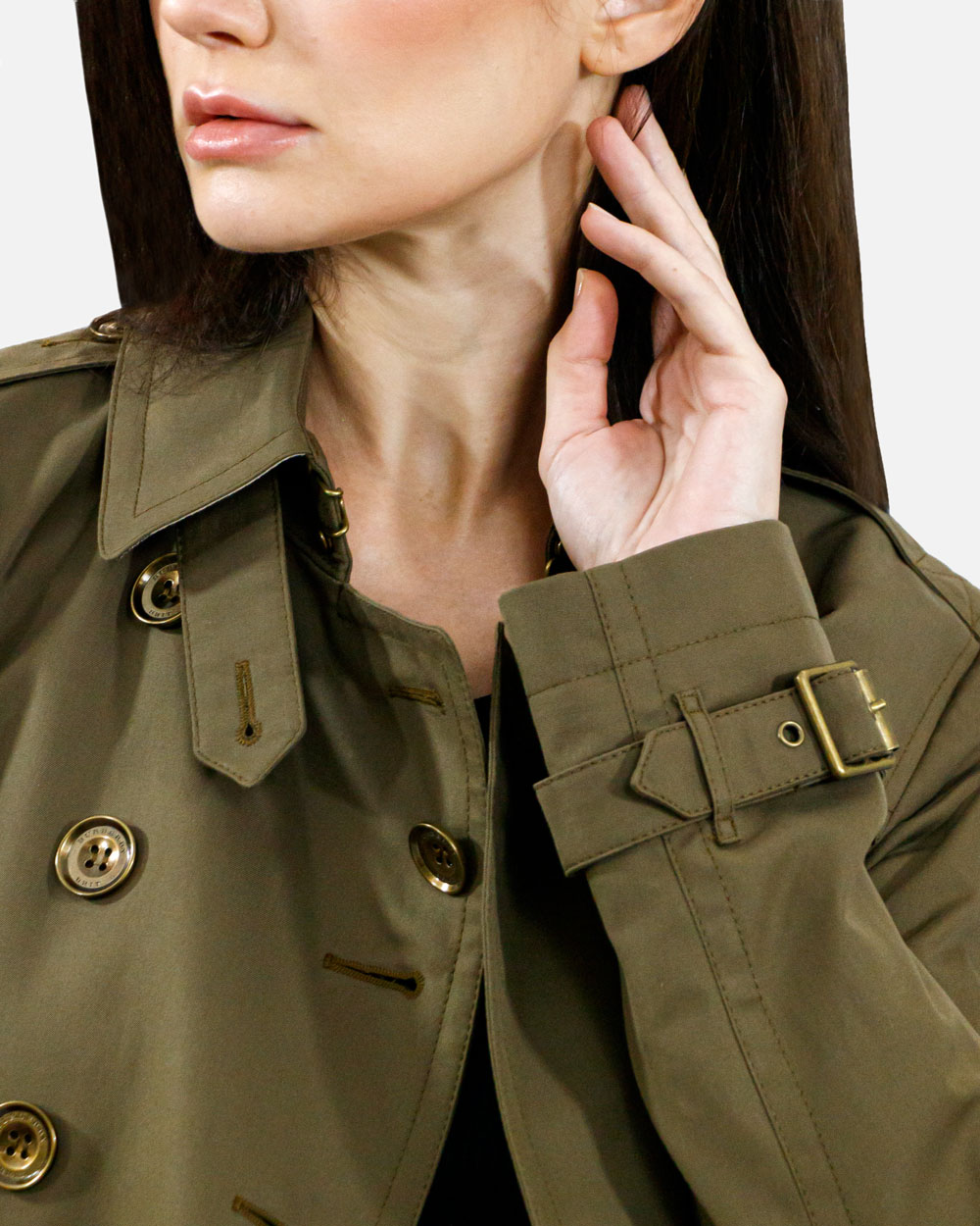 Double-breasted Mid-length Trench Coat 4