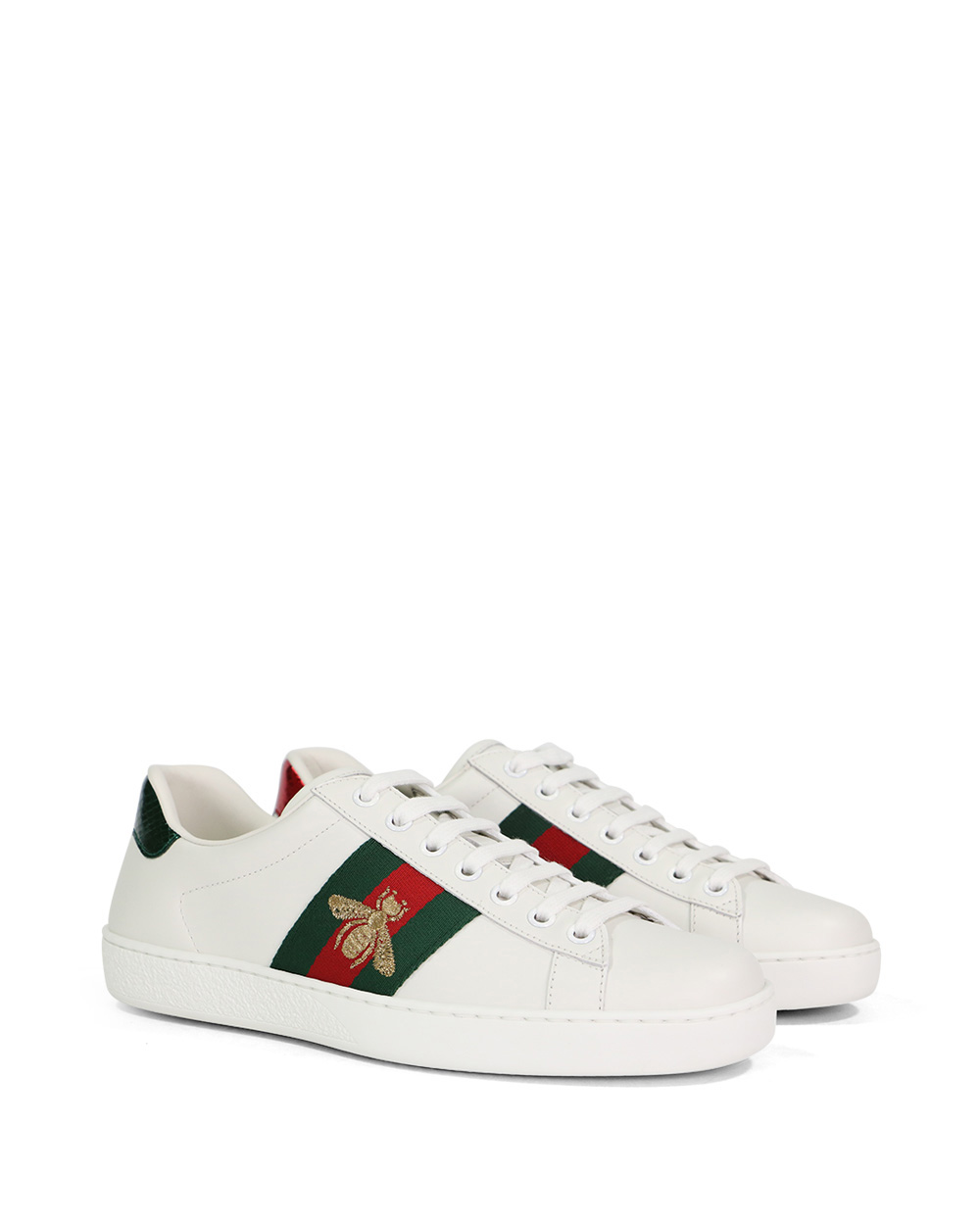 Ace Bee Embroidered Web Stripe Leather Sneakers 1