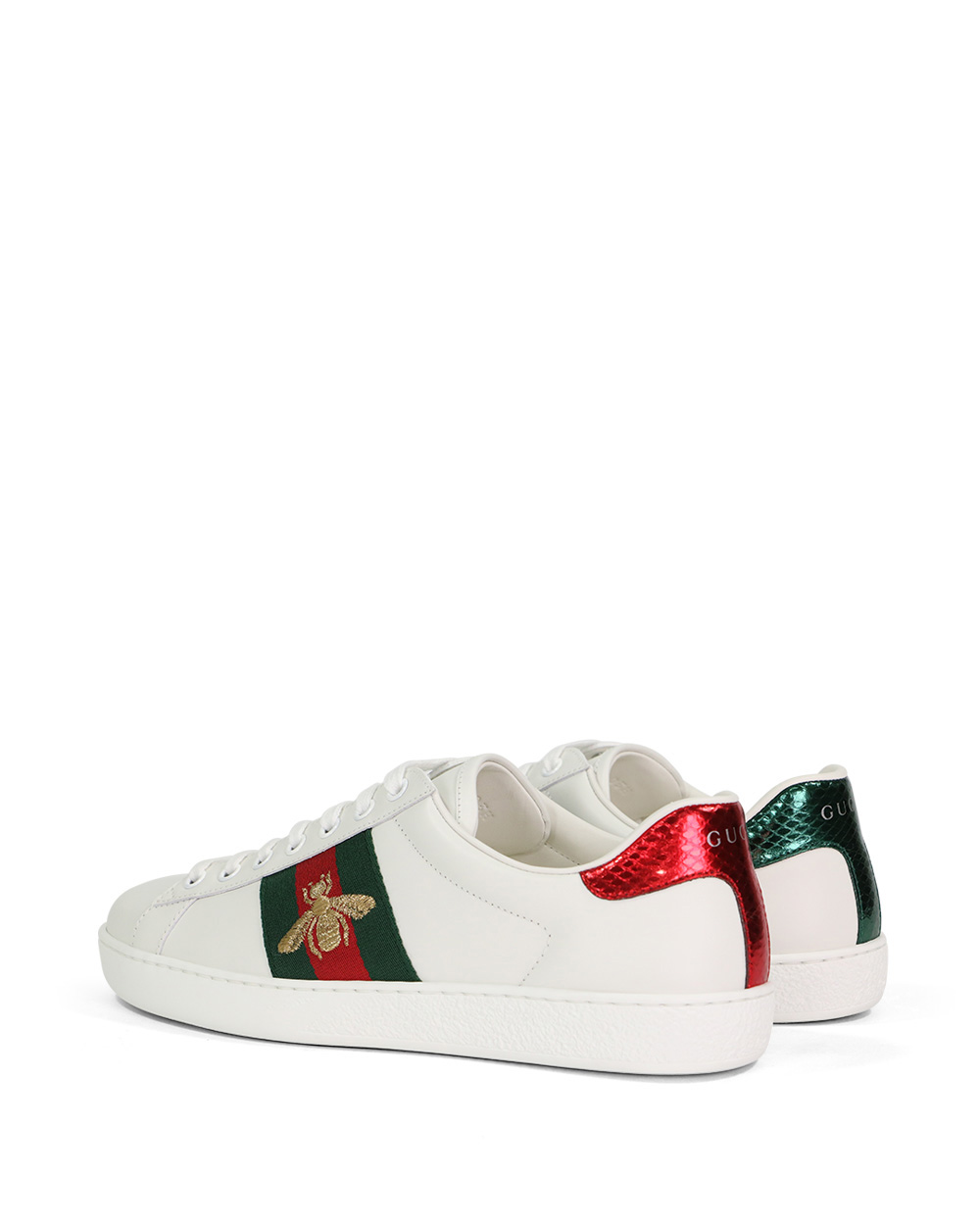 Ace Bee Embroidered Web Stripe Leather Sneakers 2