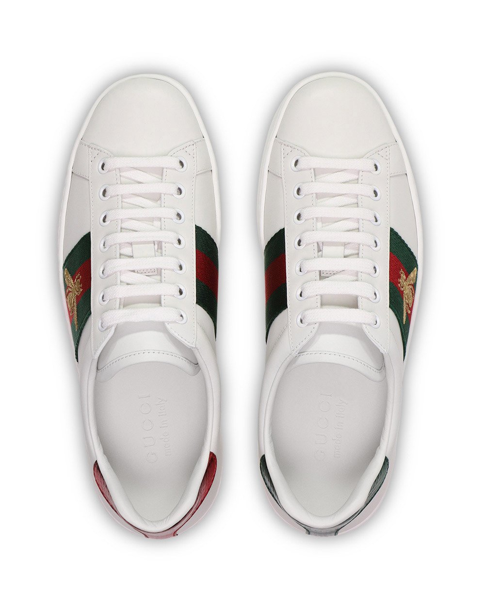 Ace Bee Embroidered Web Stripe Leather Sneakers 3