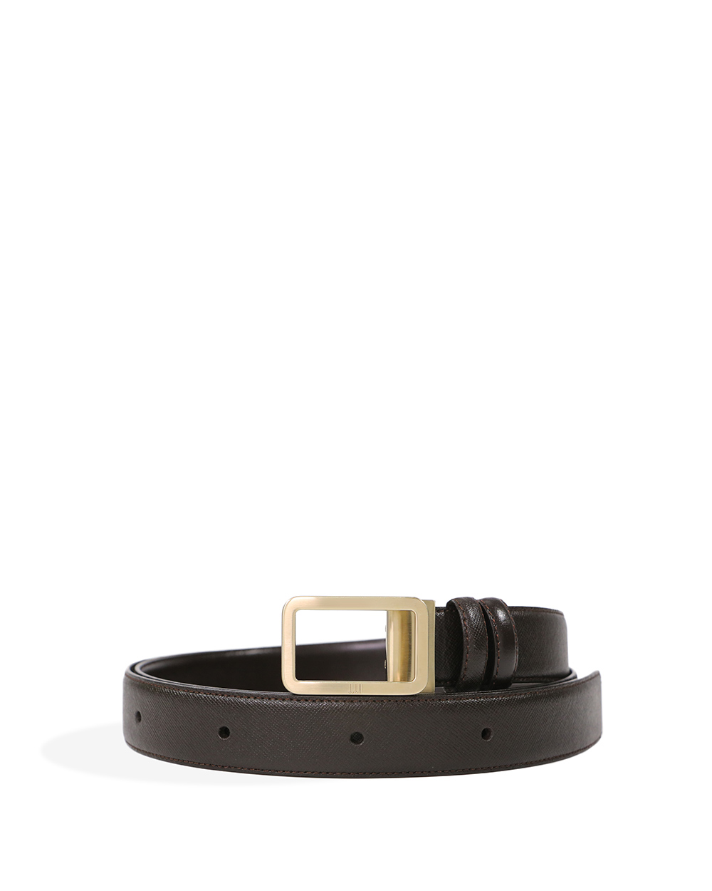 Light Gold Rounded Frame Buckle Leather Belt